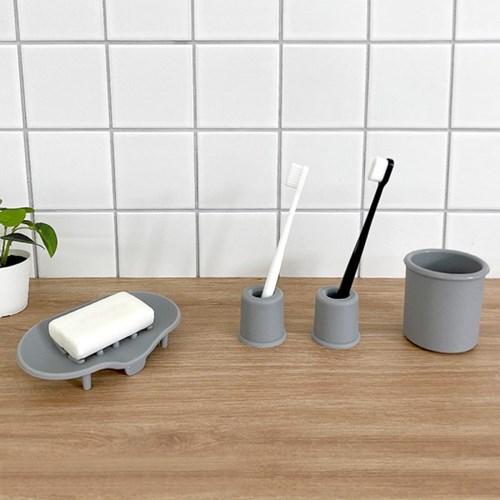 실리콘 칫솔비누홀더양치컵 욕실용품 4인세트