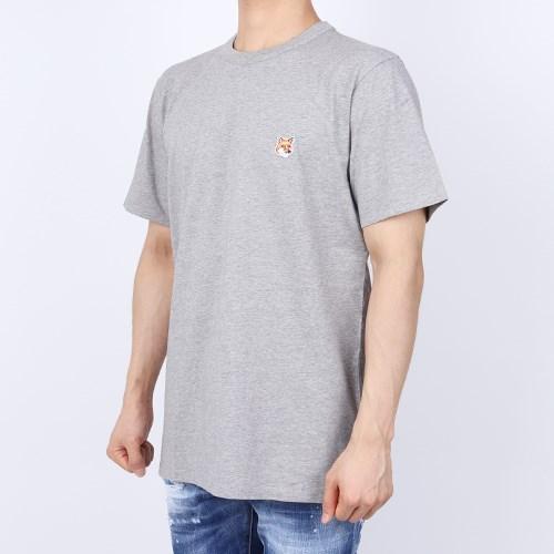 21FW 메종키츠네 폭스헤드 패치 티셔츠 (남성/그레이) AM00103KJ0008