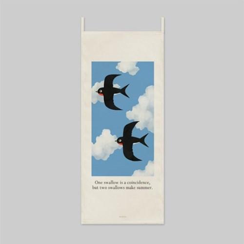 two swallows/두마리 제비_세로형 패브릭 포스터 / 바란스커튼