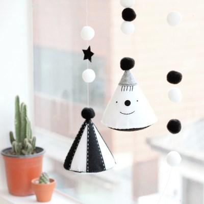 코니테일 흑백 초점 모빌 DIY 키트 (흑백모빌 신생아모빌)