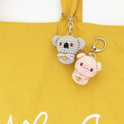 손뜨개 열쇠고리, 키링, 가방걸이, 핸드폰줄 - 코알라와 돼지