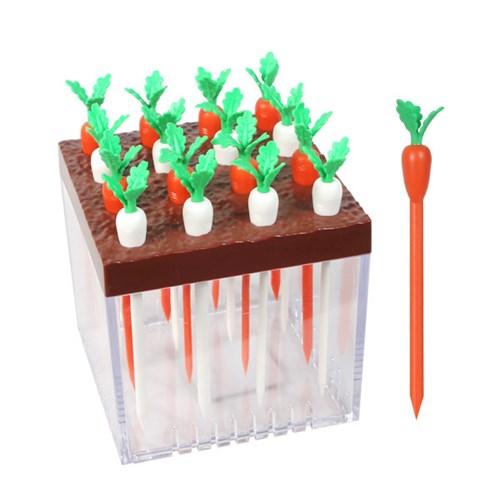 오가닉 신선 채소 디자인 과일 꽂이 포크 대형 16EA