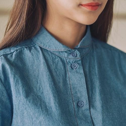 라운딩카라 데님 셔츠