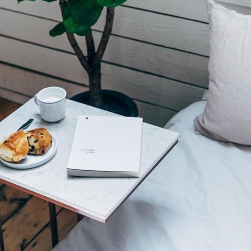 [라쏨] 베이지 대리석 사이드테이블 소파테이블 침대테이블 Lavender