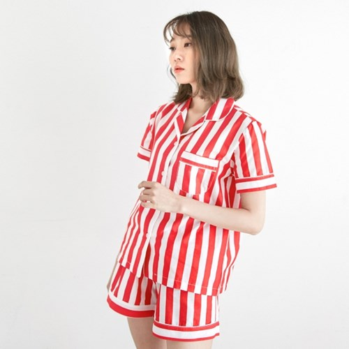 [w] Bold Stripe Short PJ Set Red