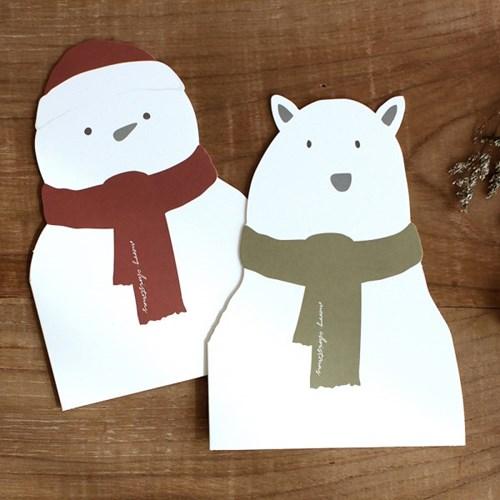 디비디 크리스마스 카드 - Bear & Snowman