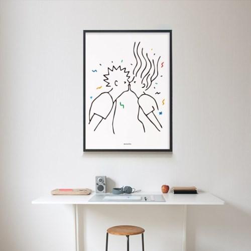 유니크 인테리어 디자인 포스터 M 짜릿짜릿 첫키스