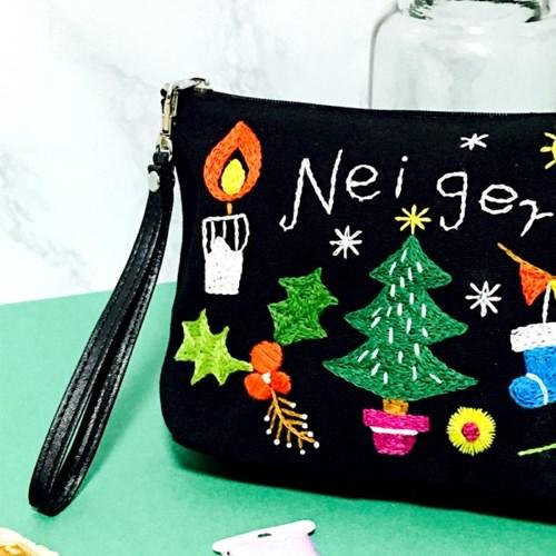 크리스마스 트리 리스 파우치 프랑스자수 패키지 도안 DIY 선물