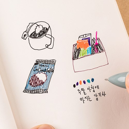 LIFE & PIECES 4색 젤펜+리필심(5개) 세트