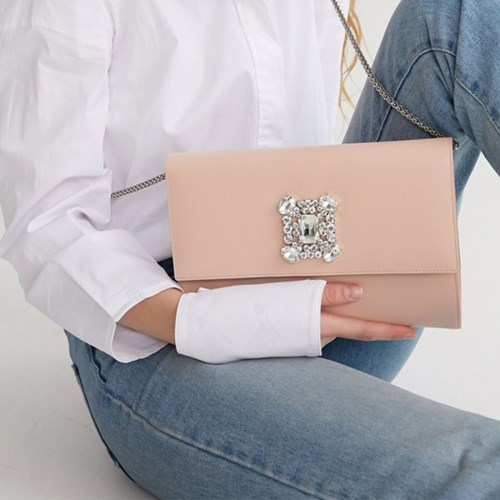 LOVE CHAMR_ Jewel Cluch (baby Pink)