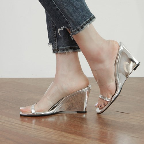kami et muse Clear top band wedge heel slippers_KM19s202