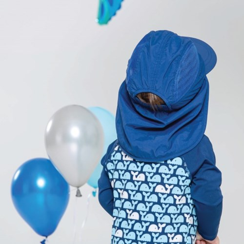 쿵스쿵스UV플랩캡(인디고네이비) 유아플랩캡 아동수영모 썬햇