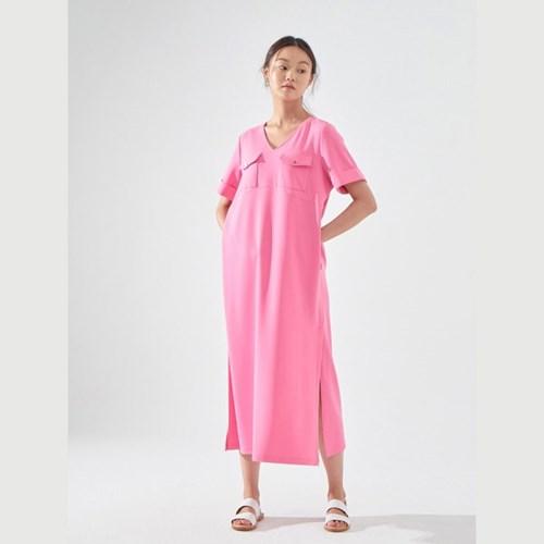 TILDA LONG DRESS (HOT PINK/ BLACK)