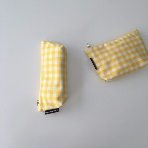 옐로우 체크 필통(Yellow check pencil case)