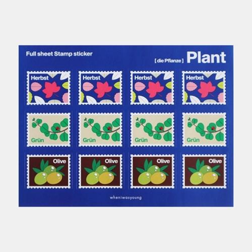 Full sheet Stamp sticker - Fruit / Flower / Plant (우표스티커)