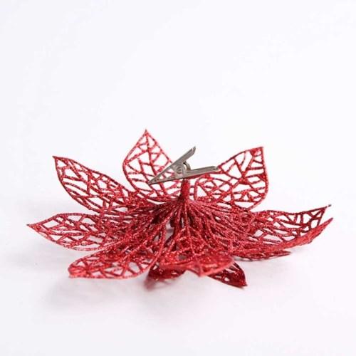 트리장식 글리터 포인꽃 (소) 레드
