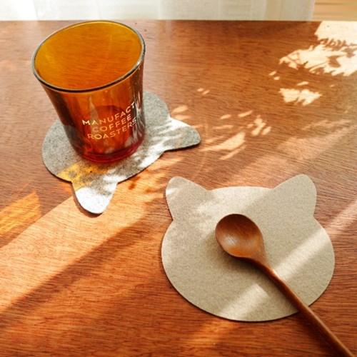 고양이 펠트 컵받침 4P