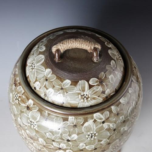분청 들꽃 쌀독 20kg  쌀항아리쌀통