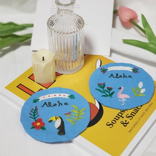 프랑스자수 집에서취미 박스 4set 티코스터만들기 독학 스티치북 꽃