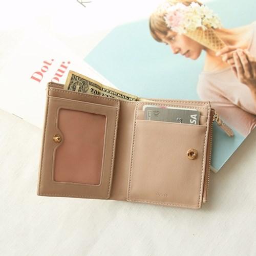 [탄생화키링+반지갑세트]Bless you half wallet(beige)