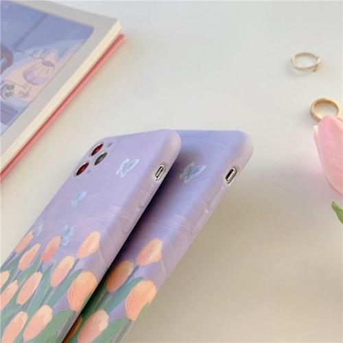 나비 튤립 유화 아이폰12 매트 풀커버 실리콘 카메라보호 케이스