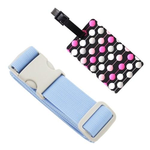 터짐방지 여행가방 컬러 보호벨트 + 패션 도트 네임택 세트
