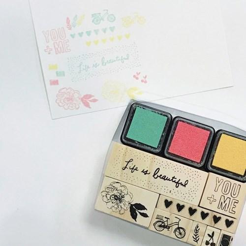 디자이너 우드 스탬프+잉크패드 세트 - Sunny Days