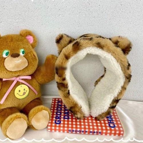 고양이 호피 레오파드 동물 데일리 학생 방한 귀마개
