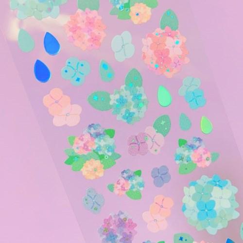 반짝반짝 수국 한아름 칼선 스티커