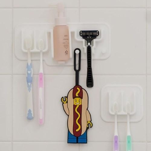 국산 플라이토 실리콘 욕실 패밀리 칫솔 면도기걸이 세트