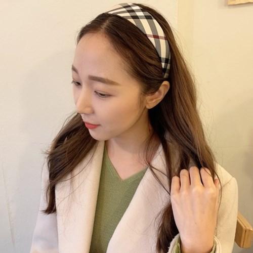 버버리 체크 패턴 머리띠 헤어밴드 (3 size)