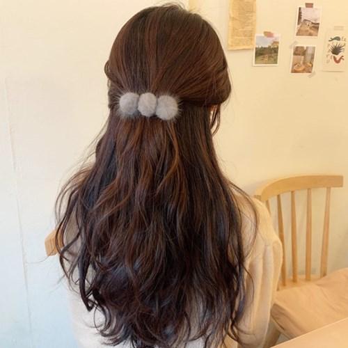 러블리 폼폼 밍크 털 눈송이 퍼 자동핀 일자 헤어핀(11color)
