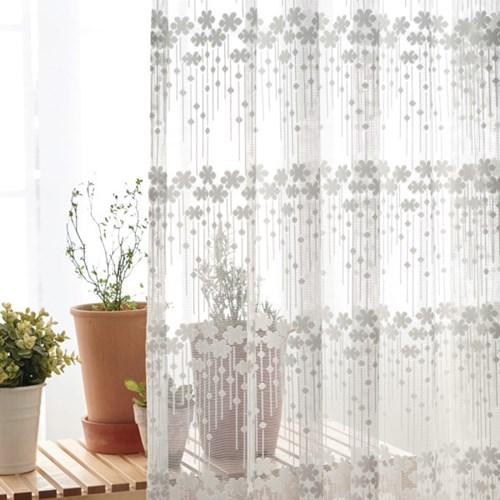 제이픽스 호텔식 꽃무늬 2배 나비주름 쉬폰 커튼 225x230cm 1+1 2장