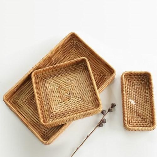 라탄 사각 주방 소품정리 쟁반 트레이 (정사각형)