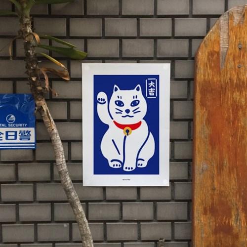 복고양이3 M 유니크 인테리어 디자인 포스터 마네키네코 일식