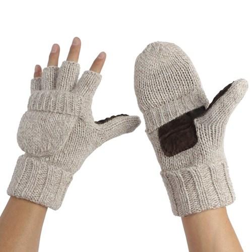 루이즈 오픈형 엄지장갑(오트밀)겨울 기모 니트장갑