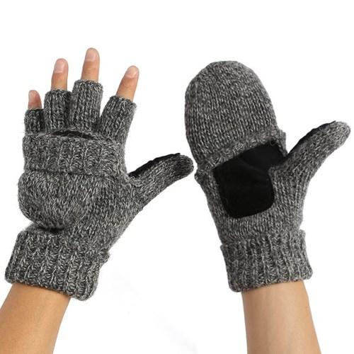 루이즈 오픈형 엄지장갑(그레이)겨울 기모 니트장갑