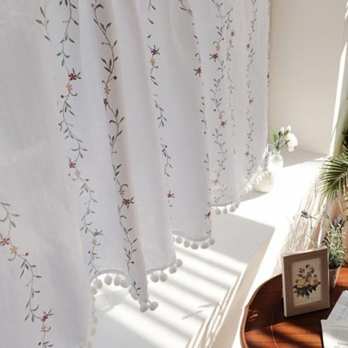 보태니컬 작은꽃 주방 바란스커튼 가리개 작은창커튼