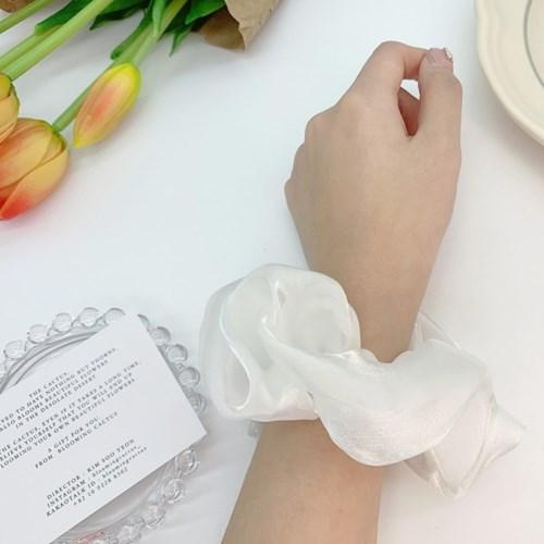 [3개세트][3color] 화이트 셀프웨딩 꽃 플라워 자수 하객룩 헤어슈슈