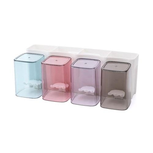 올인원 양치컵 칫솔꽂이 4인세트 / 부착식 칫솔홀더