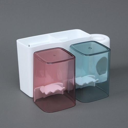 올인원 치약짜개 양치컵 칫솔꽂이 2인세트 / 칫솔홀더