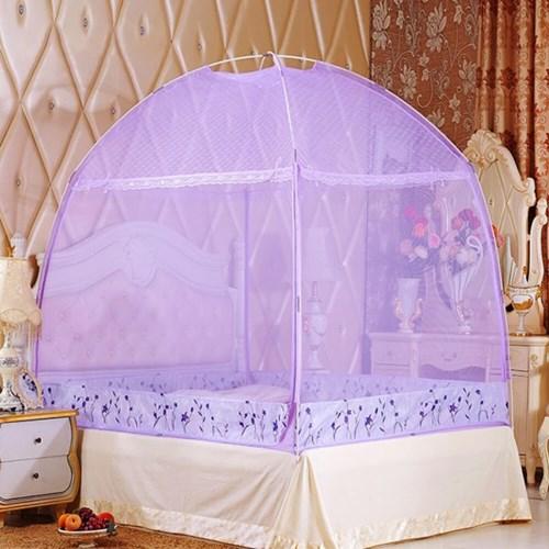 유니룸 돔형 사각 모기장(퍼플) / 4인용 침대모기장