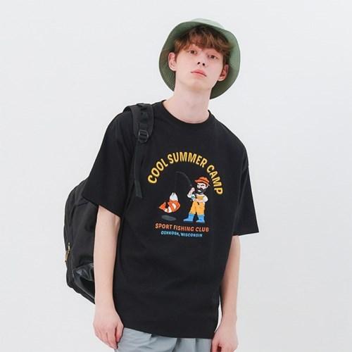 피싱클럽 오버핏 반팔티셔츠 - 블랙