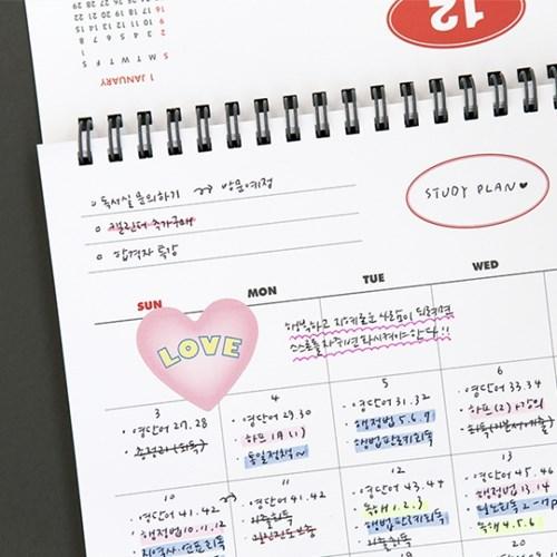 기본 18개월 탁상 달력(날짜형+만년형,21년7월~22년12월)