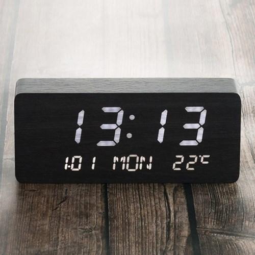 플라이토 우드 데이트 인테리어 LED 탁상시계