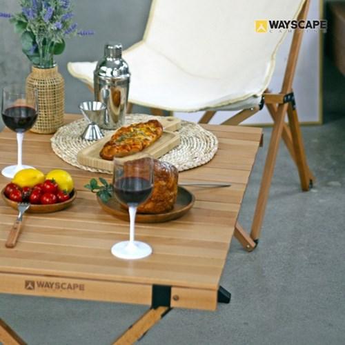 웨이스케이프 캔버스 비치목 대형 우드 롤 접이식 감성 테이블