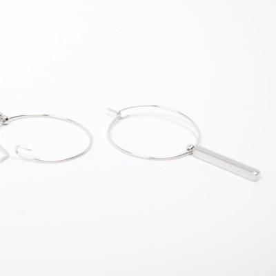 silver bar stick earring