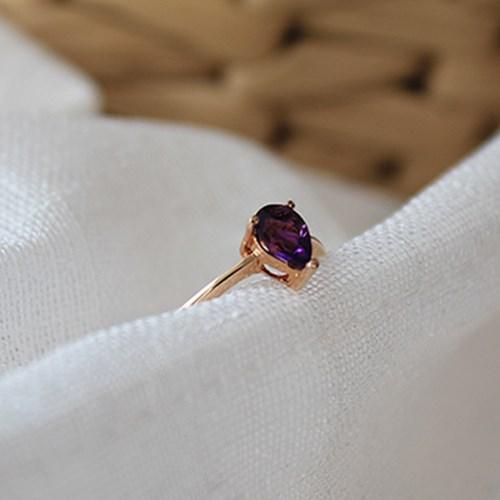 자수정 물방울 반지(2월탄생석)amethyst water drop ring