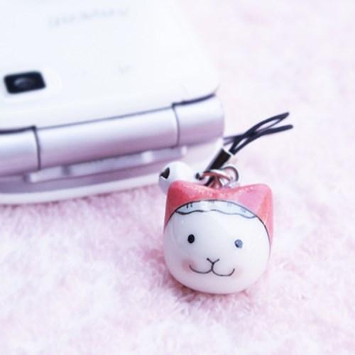 분홍모자 핸드폰줄