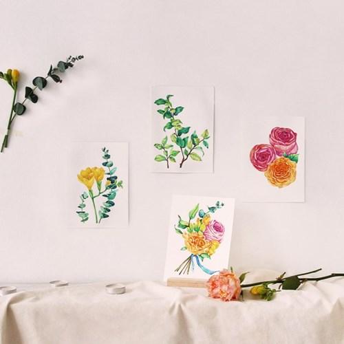 hobbyful 꽃다발 우드스탠드 수채화 온라인 취미 클래스 키트